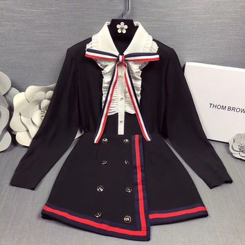 """""""Thom Browne"""" Temperament Retro Fashion Multicolor Bow Long Sleeve Shirt Irregular Double Row Buttons Short Skirt Set Two-Piece"""