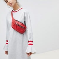 ASOS DESIGN Sweat Dress With Sports Tipping And Frill Cuffs at asos.com