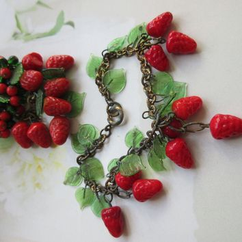 Vintage circa 1930 Glass Strawberries and Leaves Pin and Bracelet