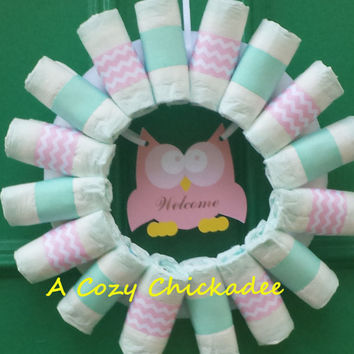Diaper Wreath in Pink and Mint