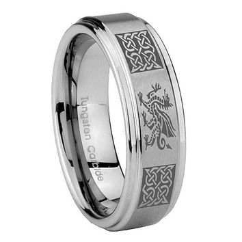 8MM Multiple Dragon Celtic Step Edges Silver Tungsten Carbide Laser Engraved Ring