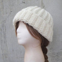 Wool Knit Beanie Hat, Off White, Ribbed Cap, Womens Knit Hat, Mens Knit Hat, Stretchy Fit