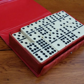 Vintage Double Nine Domino Set by Cardinal With Carrying Storage Case Great for Game Night or Altered Art Jewelry Supply