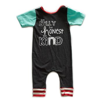 Be Silly Be Honest Be Kind Romper - Dark Grey Mint