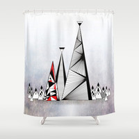 Geometric Mountains with Red Panels Shower Curtain by RunnyCustard Illustration