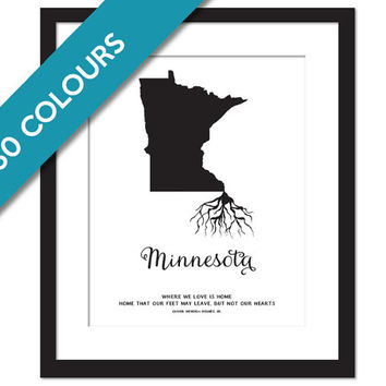 Minnesota Roots - State Map Art Print - Minnesota Map - Geography - Minnesota Art Print - Minnesota Poster - Travel Art - Custom State Print