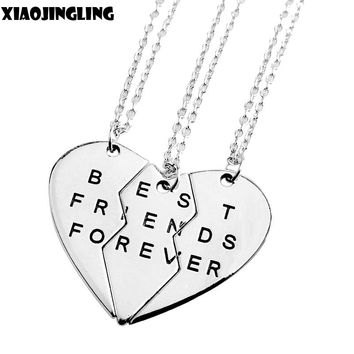 XIAOJINGLING Best Friend Forever Necklace Broken Heart 3 Parts Pendant Necklace Fashion Jewelry Friendship Love Sister Brother