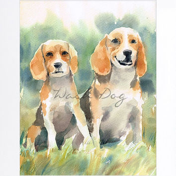 Beagle print of original watercolor painting, Collie dog art print, Collie dog painting, Collie portrait, Dog watercolor, Gift for dog lover