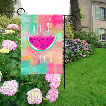 Pink Watermelon Hello Summer Garden Flag | Pineapple Garden Flag | Dream Catcher Garden Flag | Endless Summer Garden Flag