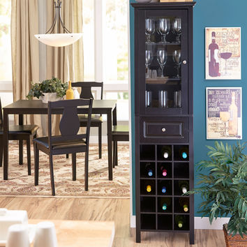 Black Espresso 15-Bottle Wine Rack Dining Room Kitchen Cabinet