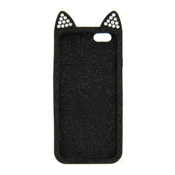Katy Perry Kitty Purry Black Glitter 3D Quilted Silicone Cover for iPhone 6