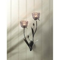 Unique Glass Blooms Candle Wall Sconce