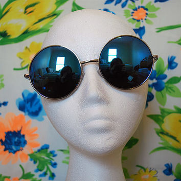 Oversized Round Sunglasses Vintage Blue Hippie Circle Mirrored Sunglasses Retro Round Glasses - Janis