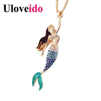 Almei Blue Mermaid Necklaces & Pendants Rose Gold Color Long Necklace Women Suspension Jewelry Dropshipping by ePacket 10% YS841