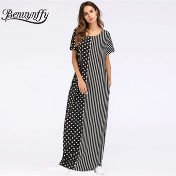 Benuynffy Fashion Polka Dot Patchwork Striped Long Dress with Pocket 2018 Summer Women Casual O-neck Short Sleeve Maxi Dress