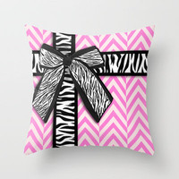 Girly zebra ribbon & bow, pink chevron stripes Throw Pillow by Girly Trend | Society6