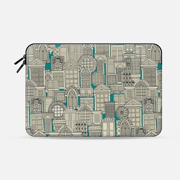 windows teal Macbook Pro 13 sleeve by Sharon Turner | Casetify