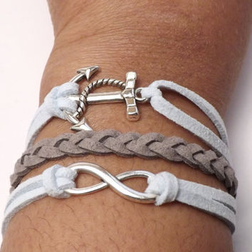 "Inspirational Hope Stacked Charm Bracelet - Made in USA - ""Forever Hope"" - friendship gift - karma bracelet"