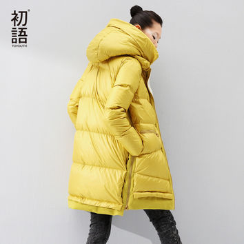Toyouth Down Jacket 2017 Women Autumn Winter Fur Hooded Fleece Medium-Long Warm Black Coat