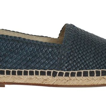 Blue Leather Woven Loafers Espadrilles