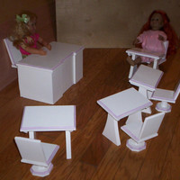 Doll school teacher desk and 4 student desks and chairs Handcrafted for American Girl 18 inch doll white with purple trim