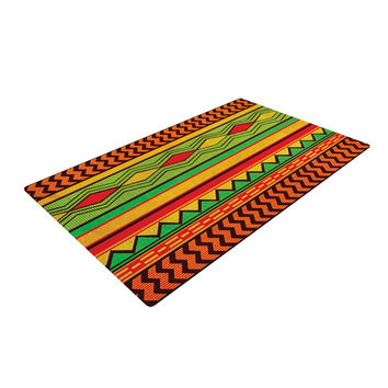 "Louise Machado ""Egyptian"" Red Orange Woven Area Rug"