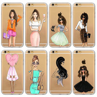 Mobile Phone Bag Case For iPhone 6 6s 4.7inch Case Fashion Cartoon Modern Dress Shopping Girl Painted Transparent Soft TPU Cover