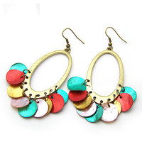 Bohemian Style Drop Dangle Earring with Pendant Colorful Wafer 9121525, Party Jewelry, Birthday Gifts, Street Style Jewelry 9121525