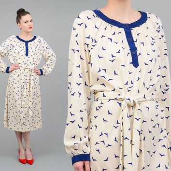 Vintage 70s Ivory BIRD Dress Midi Dress Novelty Print Midi Dress Tie Belt - Blue Suede Trimming Medium M