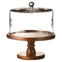 Wood & Glass Pedestal Plate w/ Dome, Cake Stands & Tiered Trays