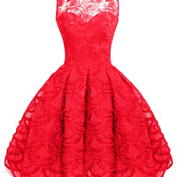 Vintage Lace Crochet  Midi Dress in Red or Black