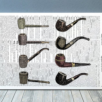 Smoking pipe print Vintage decor Antique poster Steampunk print RTA760