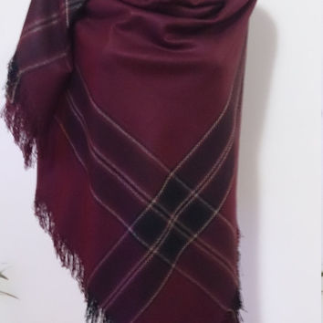 Burgundy Plaid Blanket scarf, Plaid scarf, Winter fashion, blanket scarves, oversized, For Men, For Her, blanket Christmas SALE WAS 29