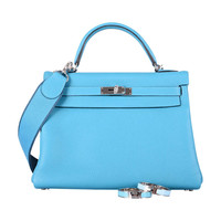 JUST 2DIE! HERMES KELLY 32cm TURQUOISE AMAZONE STRAP