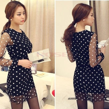 New Women Ladies Long Sleeve Sheer Mesh Overlay Polka Dot Print Party One Piece Novelty Mini Dress Black S/M/L  SV003698|28001 = 1957982468