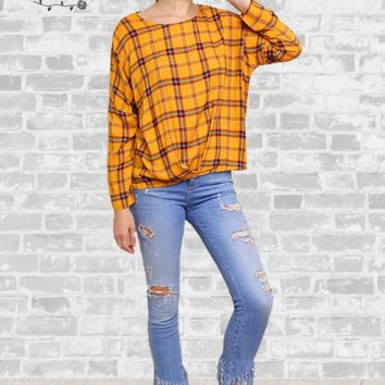Plaid Gathered Print Top - Mustard - Small only