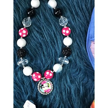 Character Fun Hot Pink & White Chunky Beads Minnie Necklace