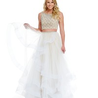 Terani Couture Prom Layered Tulle Two-Piece Beaded Bodice Gown | Dillards