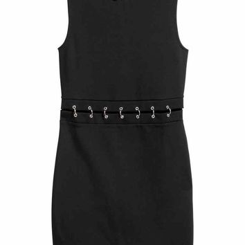 Fitted jersey dress - Black - Ladies | H&M GB