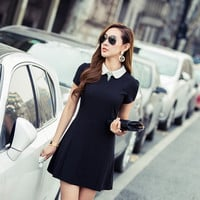 Short Sleeve Peter Pan Collar A-line Mini Skater Dress