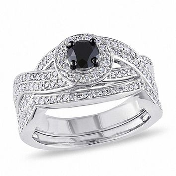 1 CT. Black and White Diamond Knotted Bridal Engagement Ring Set in Sterling Silver