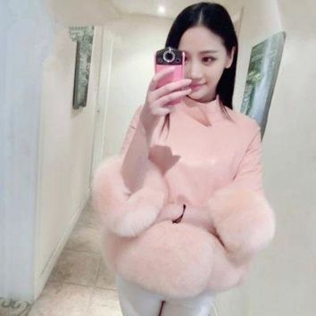 ONETOW Leather Slim fox fur cuffs jacket collar short paragraph was thin imitation fur