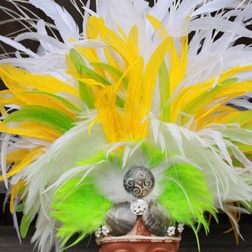 Tahitian costume, dance headpiece in white, lemon yellow and lime green, extra large headpiece, headdress, polynesian