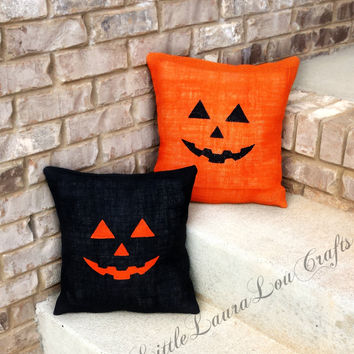 16x16 Jack-O'-Lantern Burlap Pillow, Halloween Decor, Pumpkins, Halloween Pillow, Fall Pillow, Black Burlap, Fall Decor, Gift for Her
