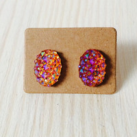 Gorgeous iridescent orange oval druzy style post earrings