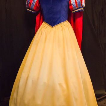 Amazing DELUXE Adult Snow WHITE Gown/Cape/Bow Costume Custom Size