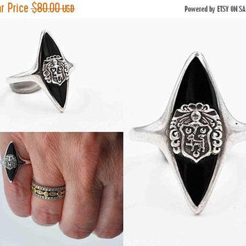 ON SALE Vintage Art Deco Balfour Sterling Silver Signet Ring, Heraldic, Lion, Crest, Shield, Black Enamel, Size 6, Superb! #c203