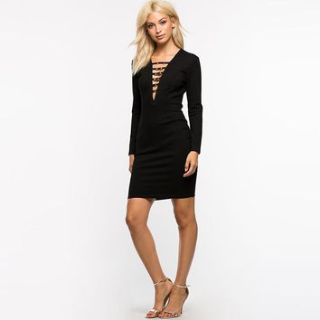 Sexy Bodycon Plunge Neck Hollow Out Female Vestidos Slim Long Sleeve Zipper Party Dresses