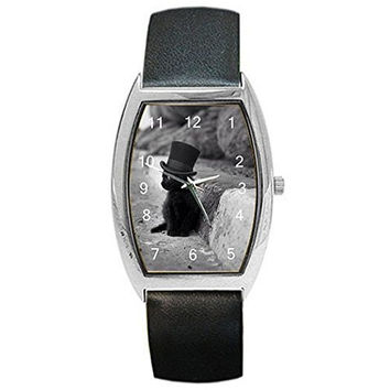 "Artistic Black and White Phote of ""Kitten in Hat"" on a Barrel Watch w / Leather Band"