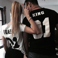 Valentine Shirts Woman Cotton King Queen 01 Funny Letter Print Couples Leisure T-shirt Man Tshirt Short Sleeve O neck T-shirts